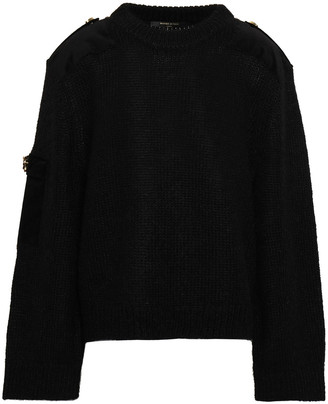 Mother of Pearl Embellished Brushed-knitted Sweater