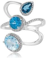 Effy Jewelry Effy Ocean Bleu 14K White Gold Blue Topaz and Diamond Ring, 3.43 TCW