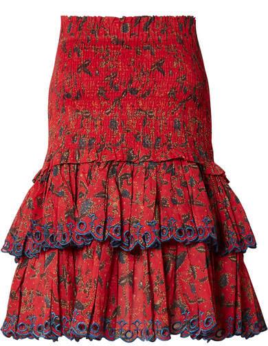 Etoile Isabel Marant Naomi Shirred Embroidered Cotton Mini Skirt