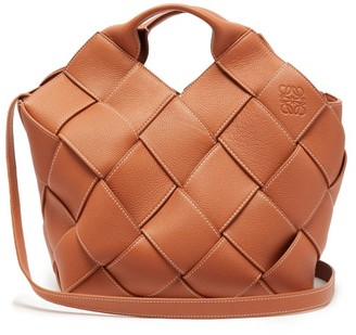 Loewe Anagram Small Woven-leather Tote Bag - Womens - Tan