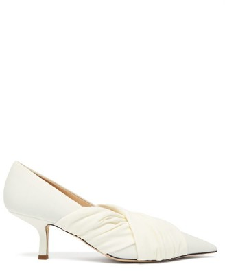 Midnight 00 Point-toe Stretch-jersey Pumps - White