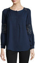 Neiman Marcus Lace-Inset Peasant Tunic, Navy