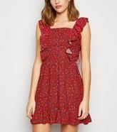 New Look AX Paris Ditsy Floral Ruffle Mini Dress