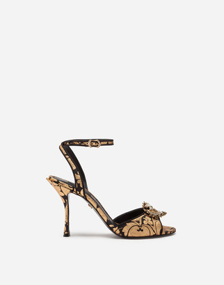 Dolce & Gabbana Jacquard Lurex Devotion Sandals
