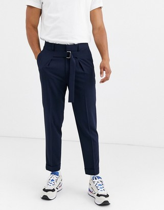 Asos Design DESIGN tapered smart trousers with tie belt in navy