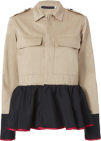 Harvey Faircloth Satin Peplum Khaki Field Jacket