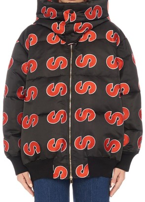 Stella McCartney All Over Logo Hooded Padded Jacket