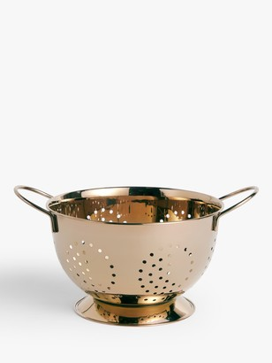 John Lewis & Partners Stainless Steel Footed Colander, Dia.23cm, Gold