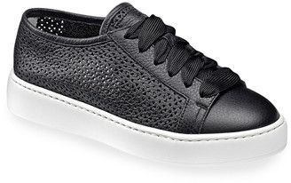 Santoni Perforated Calfskin Low-Top Sneakers