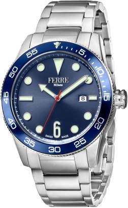Ferré Milano Men's 42mm Watch w/ Bracelet, Steel/Blue