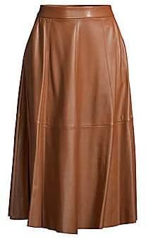 Polo Ralph Lauren Leather A-Line Midi Skirt