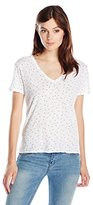 Stateside Women's Rose Print Slub V Neck