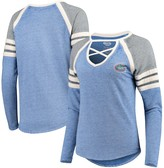 Unbranded Women's Concepts Sport Heathered Royal/Charcoal Florida Gators Cross Neck Raglan Long Sleeve T-Shirt
