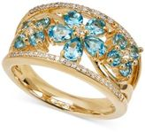 Macy's Swiss Blue Topaz (1-1/2 ct. t.w.) & Diamond (1/10 ct. t.w.) Ring in 14k Gold