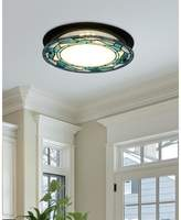 Dale Tiffany Green Leaves Round Flush Mount Light Fixture