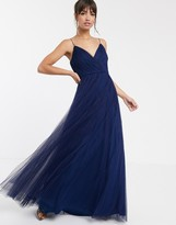 Asos Design DESIGN cami pleated tulle maxi dress