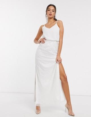 Little Mistress Bridal Astral embellished maxi dress in white