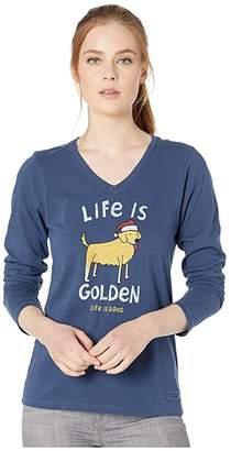 Life is Good Life Is Golden Long Sleeve Crusher T-Shirt (Darkest Blue) Women's Clothing