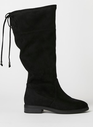 Evans EXTRA WIDE FIT Black Stretch Knee High Boots