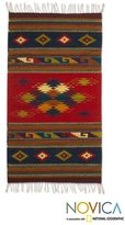 Novica Handcrafted Wool 'Scarlet Sky' Zapotec Rug (2'5 x 5') (Mexico)