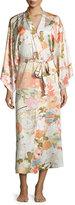Natori Yuzen Floral-Print Long Wrap Robe, Antique