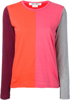 Comme des Garcons colourblock long-sleeve top - women - Cotton - S