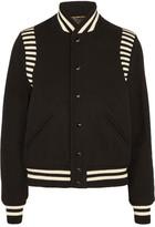 Saint Laurent Striped Jersey-trimmed Wool-blend Piqué Bomber Jacket - Black