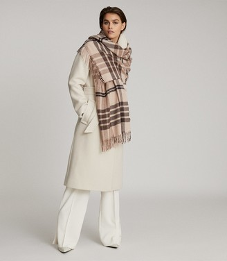 Reiss STEPH WOOL CHECKED SCARF Natural