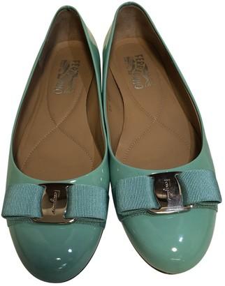 Salvatore Ferragamo Turquoise Patent leather Ballet flats