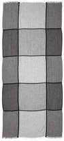 Brunello Cucinelli Windowpane Cashmere-Blend Scarf, Gray