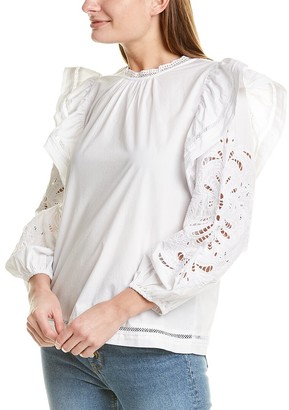J.Crew Embroidered Flutter Sleeve Top
