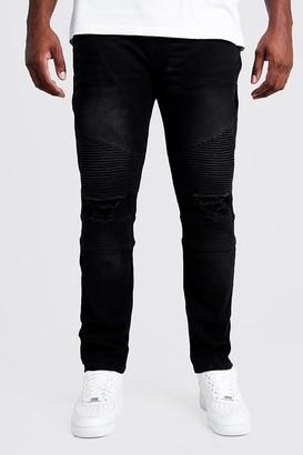 boohoo Mens Black Big & Tall Biker Detail Skinny Fit Jean, Black