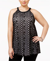 Alfani Plus Size Contrast Lace Top, Only at Macy's