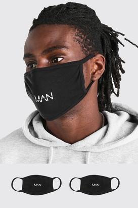 boohoo Mens Black 2 Pack MAN Dash Reversible Fashion Masks, Black