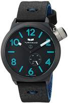 Vestal 'Canteen Makers' Quartz Stainless Steel and Leather Dress Watch, Color:Black (Model: CNTMAK001)