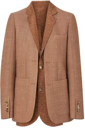 Burberry Collarless Tailored Wool Jacket