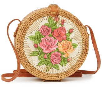 Pink Haley Ophelia Round Hand Painted Floral Crossbody Bag