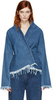 Marques Almeida Blue Denim Draped Fitted Jacket