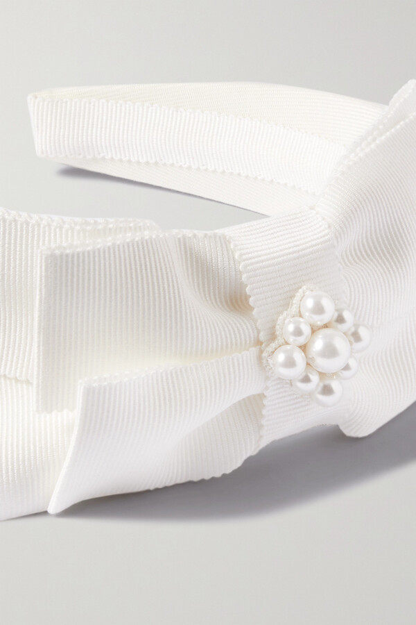 Thumbnail for your product : Erdem Bridal Faux Pearl-embellished Grosgrain Headband - Ivory