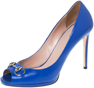 Gucci Blue Leather Horsebit Peep Toe Pumps Size 39.5