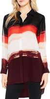 Vince Camuto Brushstroke Horizons Button Down Tunic