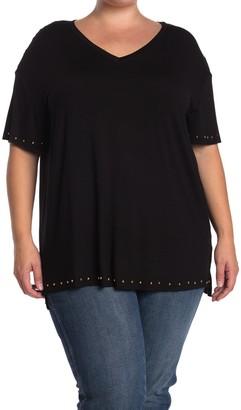 One A Studded V-Neck Short Sleeve T-Shirt (Plus Size)