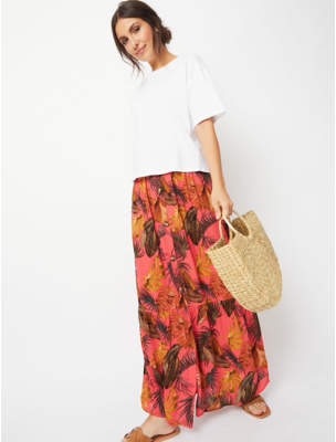 George Pink Tropical Print Textured Button Down Maxi Skirt