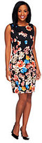 As Is Dennis Basso Floral Printed Stretch Sateen Sheath Dress
