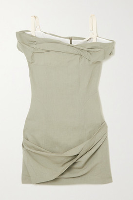 Jacquemus Foglio Off-the-shoulder Gathered Linen-blend Mini Dress - Sage green