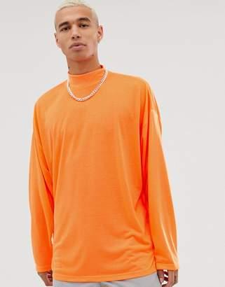 Asos Design DESIGN oversized long sleeve jersey turtle neck in neon orange