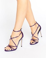 Office Spindle Purple Mirror Strappy Heeled Sandals