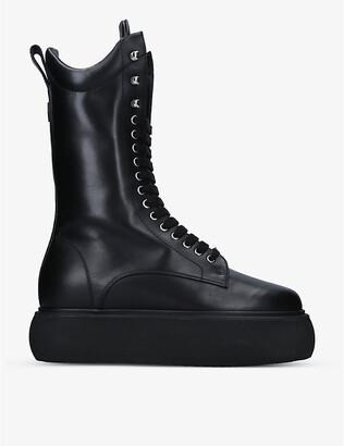 ATTICO Selene platform leather ankle boots