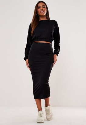 Missguided Rib Crop Top and Midaxi Skirt Co Ord Set