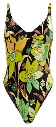 Fendi Dream Garden-print Velvet Swimsuit - Green Print